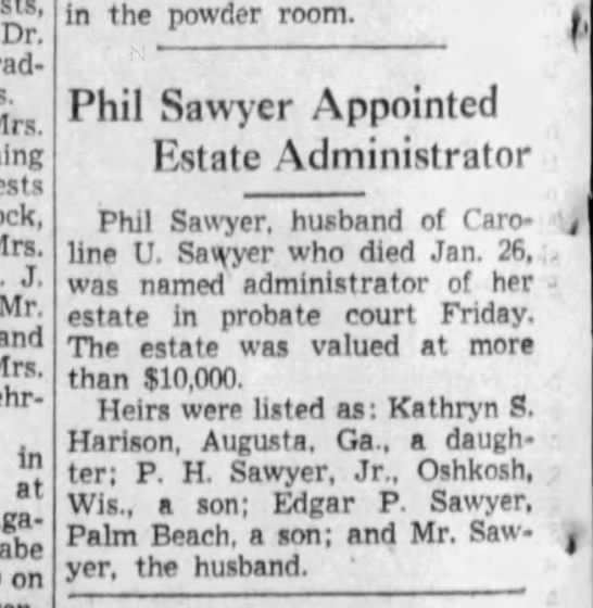 Caroline Upham Phil Sawyer - Dr. Mrs. Mrs. J, Mr, and Mrs. In at on in the...