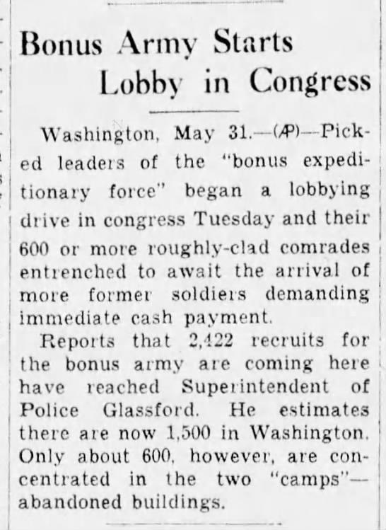 Bonus Army begins lobbying Congress