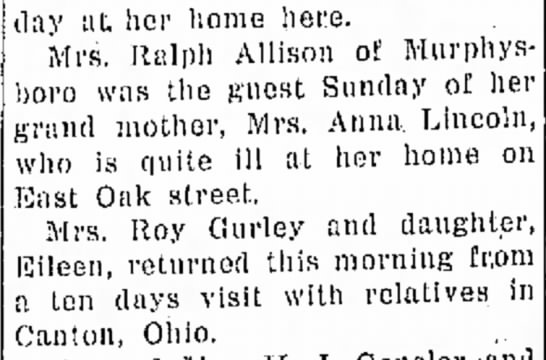 Anna Lincoln ill