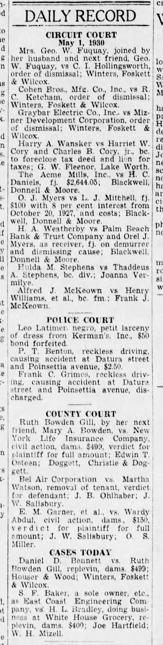 Court record, 1930 - to in crinkly-blue DAILY RECORD CIRCUIT COURT...