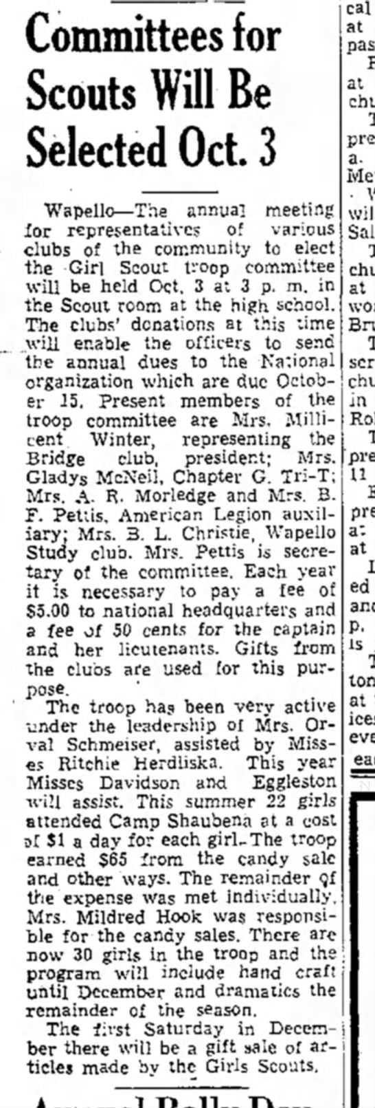 1939 (27) Wapello Muscatine News-Tribune 9.29.1939 - Committees for Scouts Will Be Selected Oct. 3...