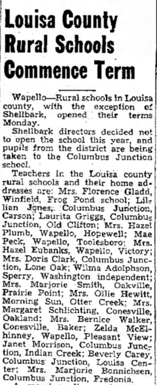 - Louisa County Rural Schools Commence Term...