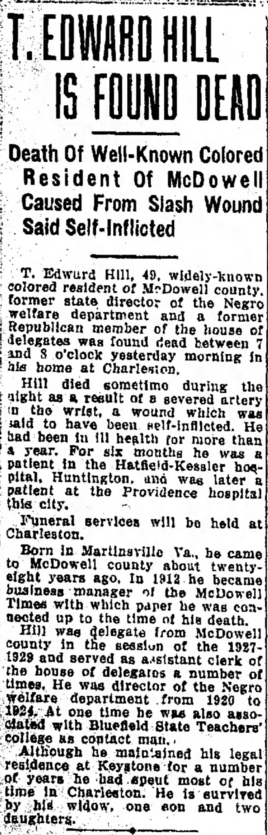 Dec 3,1932 Bluefield Daily Telegraph Death Coverage - T.E IS FOUND DEAD Death Of Weil-Known Colored...