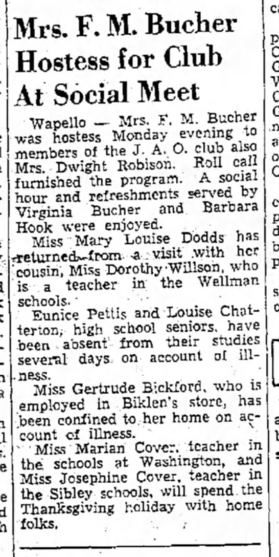 1939 (8) Wapello Muscatine News Tribune 11.29.1939 - Mrs. F. M. Bucher Hostess for Club At Social...
