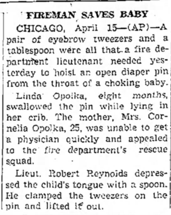 The Daily Independent (Murphysboro, Illinois) 15 Apr 1948 - FIREMAN SAVES BABY CHICAGO, April 15— CAP)—A...