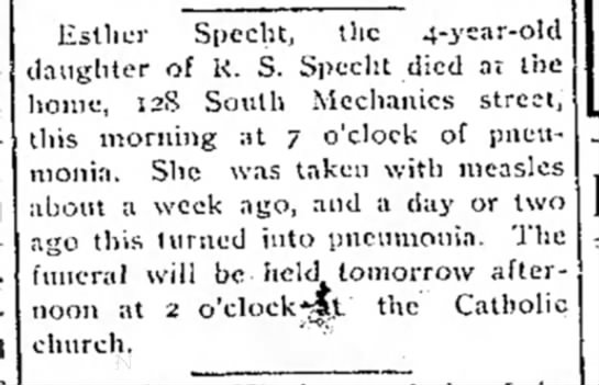 Esther Specht Death Notice - Esther Specht, the 4-ysar-old daughter of K. S-...
