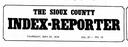- THE SIOUX COUNTY INDEX-REPORTER THURSDAY, MAY...