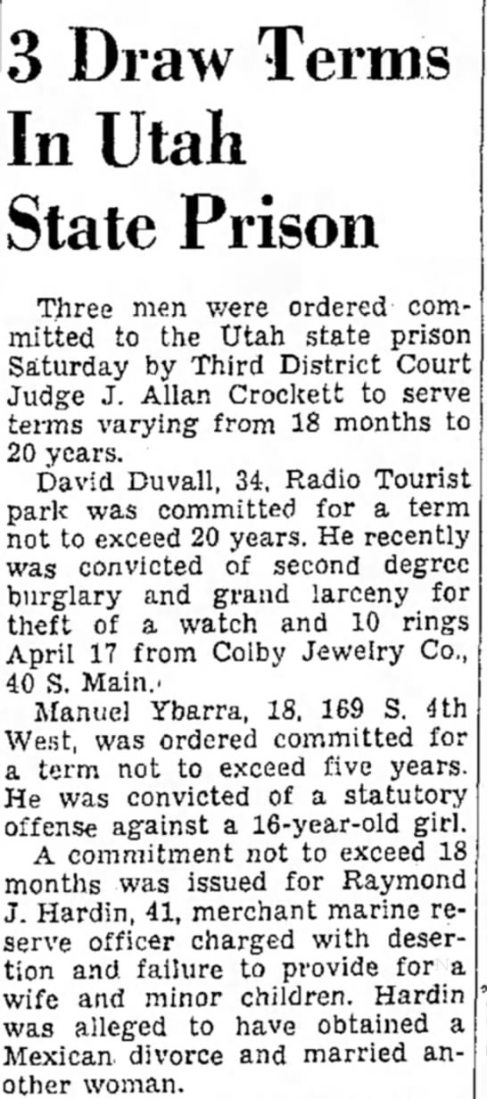 Yippee!  Our family is so exciting... - 3 Draw Terms In Utah State Prison Three men...