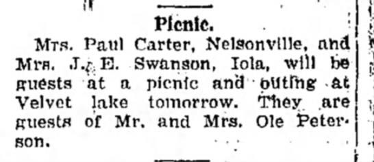 Ole Peterson - Picnic. Mrs. Paul Carter, Nelsonville, ah4...