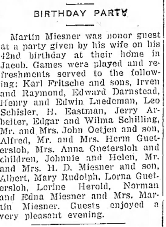 Martin Miesner Birthday - BIRTHDAY PARTY. Martin Miesner was nonor guest...