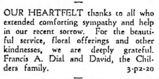 Thank you from Dial Family Emporia Gazette 20 Feb 1961 - OUR HEARTFELT thanks to all who extended...