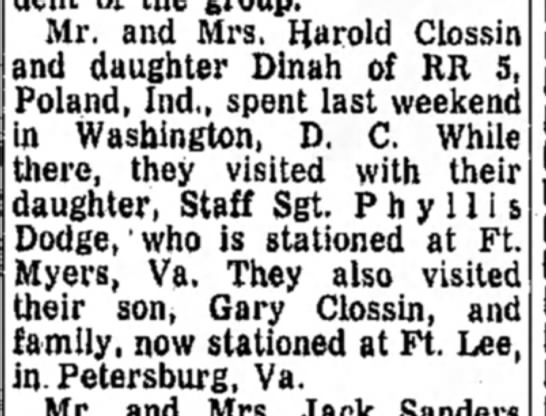 Trip to DC in 1971 - Mr. and Mrs. flarold Clossin and daughter Dinah...