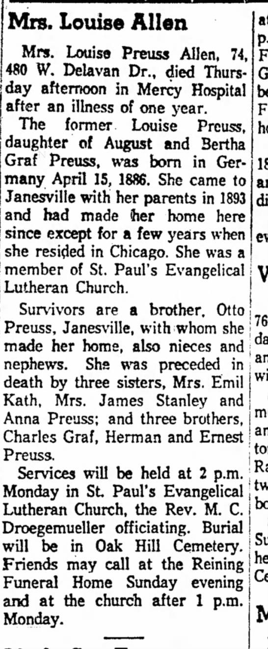 "Louise (preuss) Allen - jS ^e resided in Qicago. Slie was a I""';';""^^'""..."
