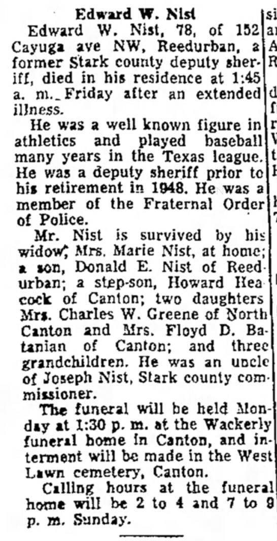 Edward W. Nist, The Evening Independent, Massillon, OH, July 5 1958