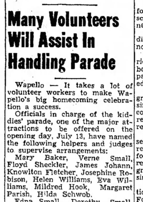 1954 Wapello Muscatine News Tribune 7.9.1954 - Many Volunteers Will Assist In Handling Parade...