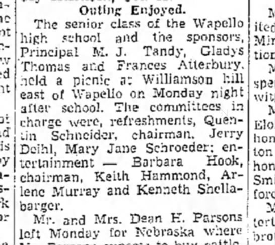 1942 (15) Wapello Muscatine News Tribune 9.23.1942 - Online Enjoyed. The senior class of the Wapello...