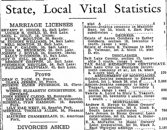 Dean C Pack Marriage License notice; The Salt Lake Tribune (Salt Lake City, Utah) 9 May 1934 - State, Local Vital Statistics MARRIAGE LICENSES...