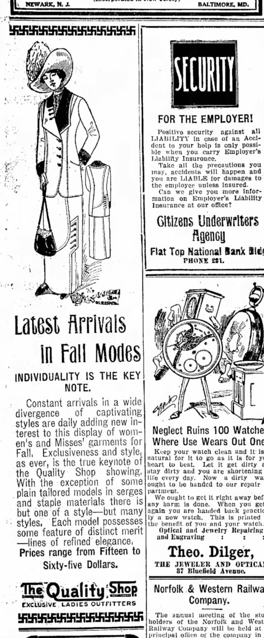 Latest Arrivals in Fall Modes - ( NEWARK. N.J. BALTIMORE, MD. THE KEY Laiest...