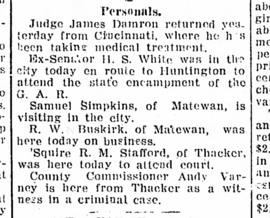 Andy Varney County Commis of Thacker WV - Personals. Judge James Damron returned yes....