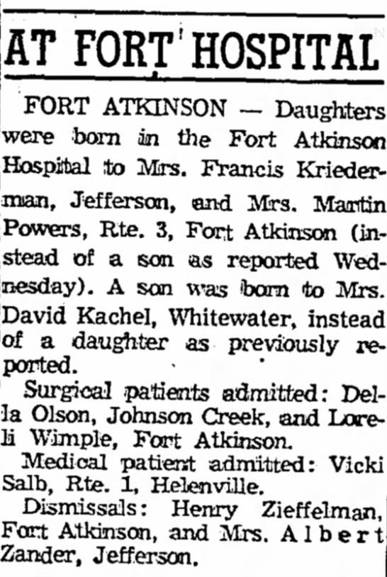 David Kachel Birth Announcement - AT FORT HOSPITAL FORT ATKINSON - Daughters were...