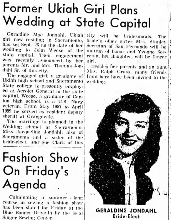 Geraldine Jondahl announces wedding at state capitol 1959 - Former Ukiah Girl Plans Wedding at State...