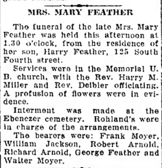 Funeral announcement. - MRS. MARY FEATHER, Tho funeral of tho late Mrs....