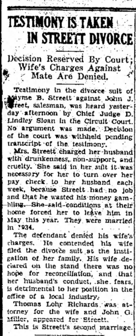 Times News 23 June 1937 - TESTIMONY &TAKEM IN STREETT DWORCE Decision...