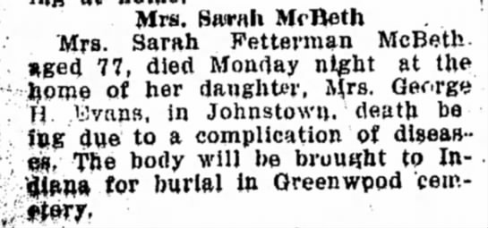 Indiana Weekly Messenger, 26 March 1925 Page 4 - Mrs. Sairah Mrtteth Mrs. Sarah Fetterman McBeth...
