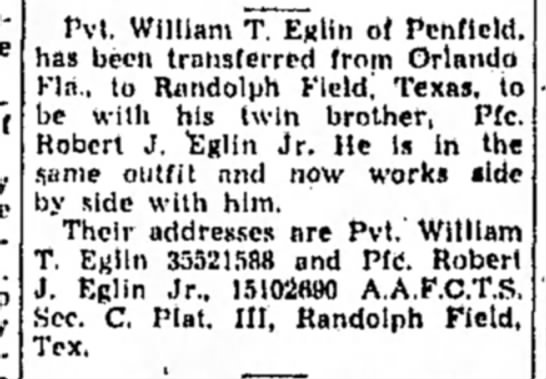 Chronicle Telegram Elyria Ohio 21 Jul 1944 - Pvt. William of Pcnflcld. has been transferred...