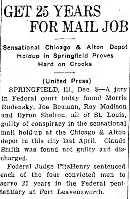 Byron J. guilty - GET 25 YEARS FOR MAIL JOB Sensational Chicago &...