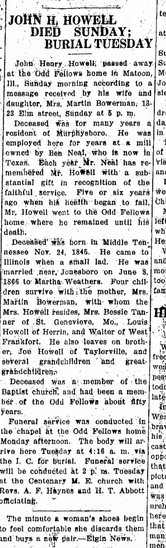 Ben Neal - 2 June 1924Daily Independenet Mboro - JOHN H 4 HQWEfeL DIED SUNDAY; BURIAL TUESDAY at...