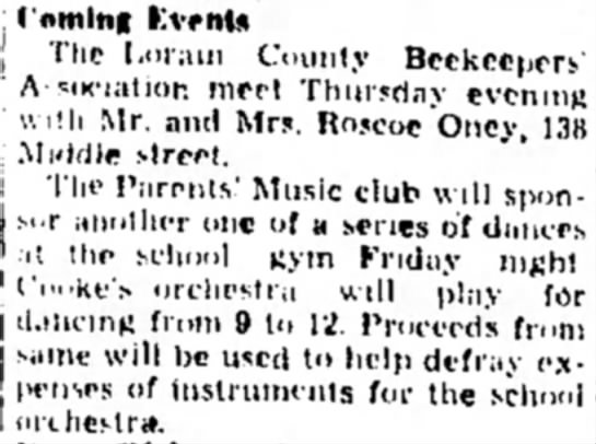 Beekeepers - Roscoe Oney - I'nmlng Events , Tlie I.orain County...
