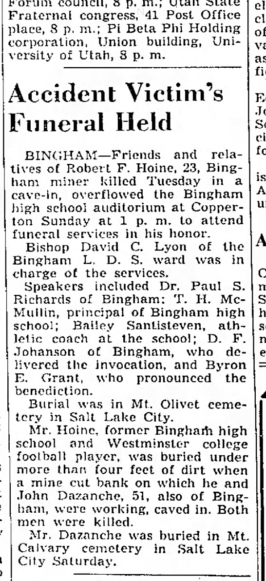 1939 Dee Johanson invocation at funeral