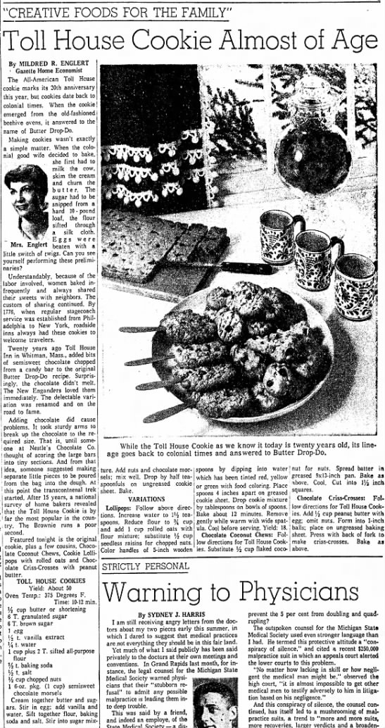 """Chocolate chip cookie turns 20 - """"CREATIVE FOODS FOR THE FAMILY"""" Toll House..."""