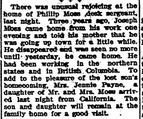 Moss Children Home For Visit - The Iola Register 1 Sept 1909 Page 2 - There was uonsoal nJoMns at th« home ot Phillip...