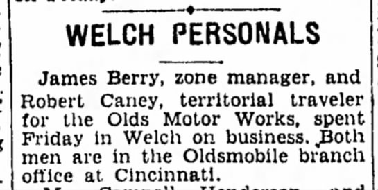 - WELCH PERSONALS James Berry, zone manager, and...