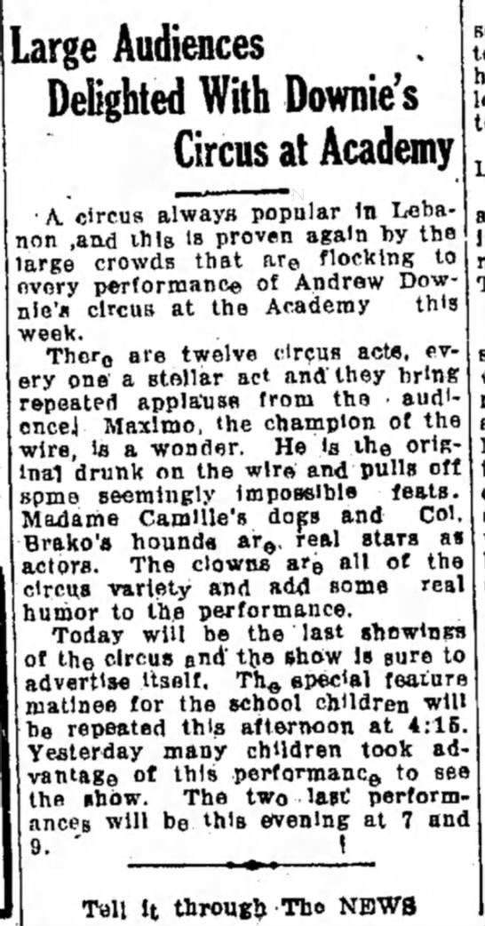 Downie Article 2-18-1925 - Large Audiences Delighted With Downie's Circus...