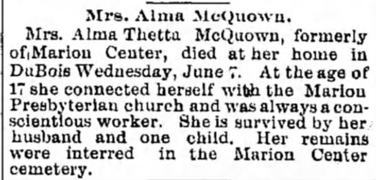 Alma Stlla McQuown obit - Airs. Alma Mct^nowu. Mrs. Alma Thetta McQuown,...