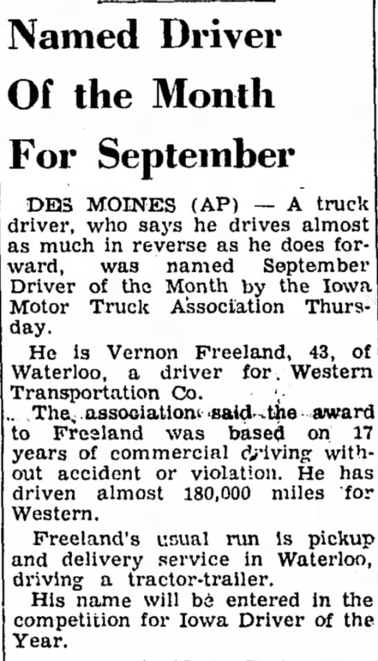 Vernon Freeland safe driver award 27 Spt 1962 Waterloo Iowa