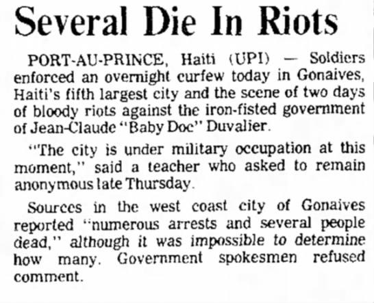 - Several Die In Riots PORT-AU-PRINCE, Haiti...