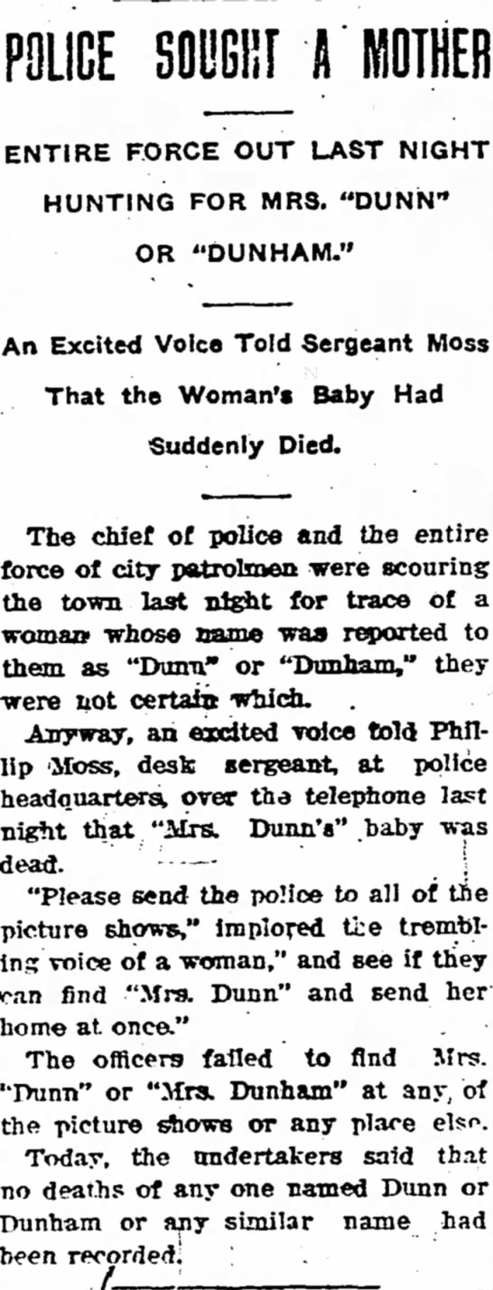 Police Seek Mother; Sgt Moss Took Phone Call - The Iola Register 8 Oct 1909 Page 1