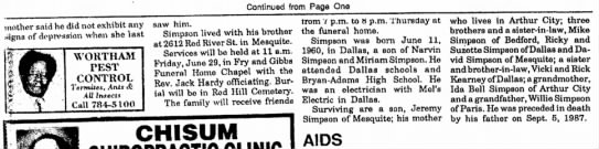 Jimmy Simpson obit p 2 - Continued from Page One mother said he did not...