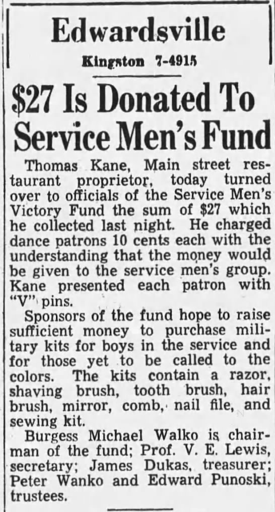 Service Men's Fund 1942 - Edwardsville Kingston 7-491 7-491 7-491 $27 Is...
