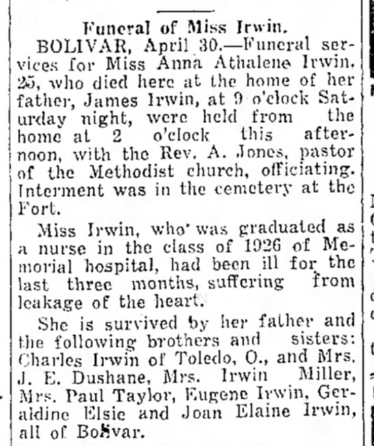 Athelene Irwin - Funeral of Miss Irwin. BOLIVAR, April...
