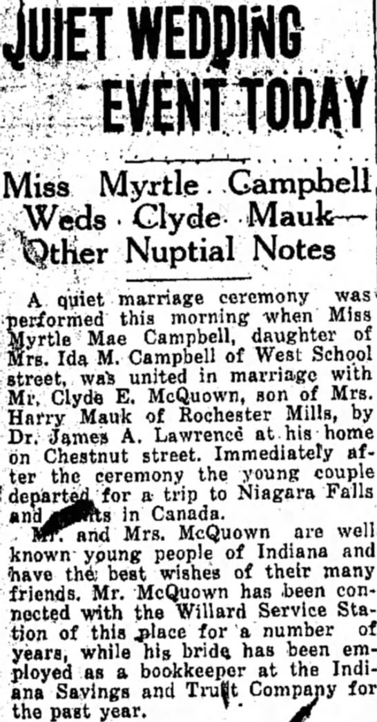 Clyde and Myrtle McQuown marriage announcement - JUIETWEDJING ^ S _. ... j tl-L't^i^J j - - - •...