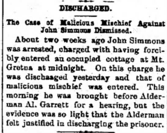 John Simmons - DISCHARGED. The Cue of Malicious Mischief...