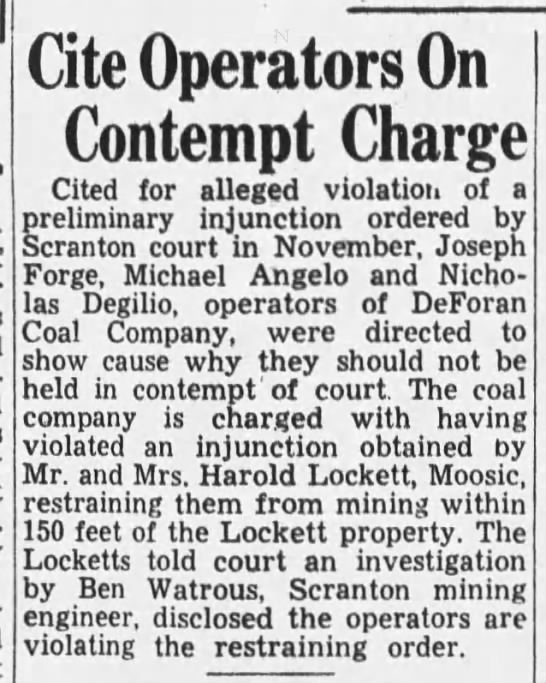 Mining violating Moosic near Harold Lockett property - Cite Operators On Contempt Charge Cited for...