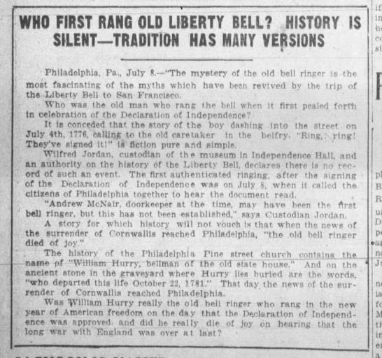 Who Rang the Liberty Bell - WHO FIRST RANG OLD LIBERTY BELL? HISTORY IS...