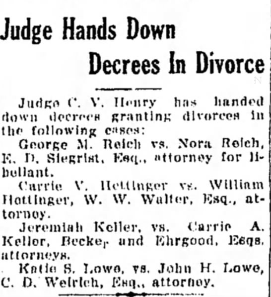 George M. Reich v. Nora Reich - divorce decree - Judge Hands Down Decrees In Divorce Judge C'....