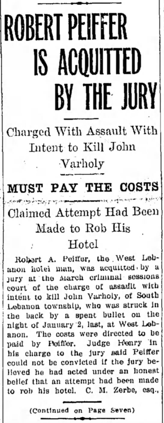 - ROBERT PEIFFER IS BY THE J Charged With Assault...